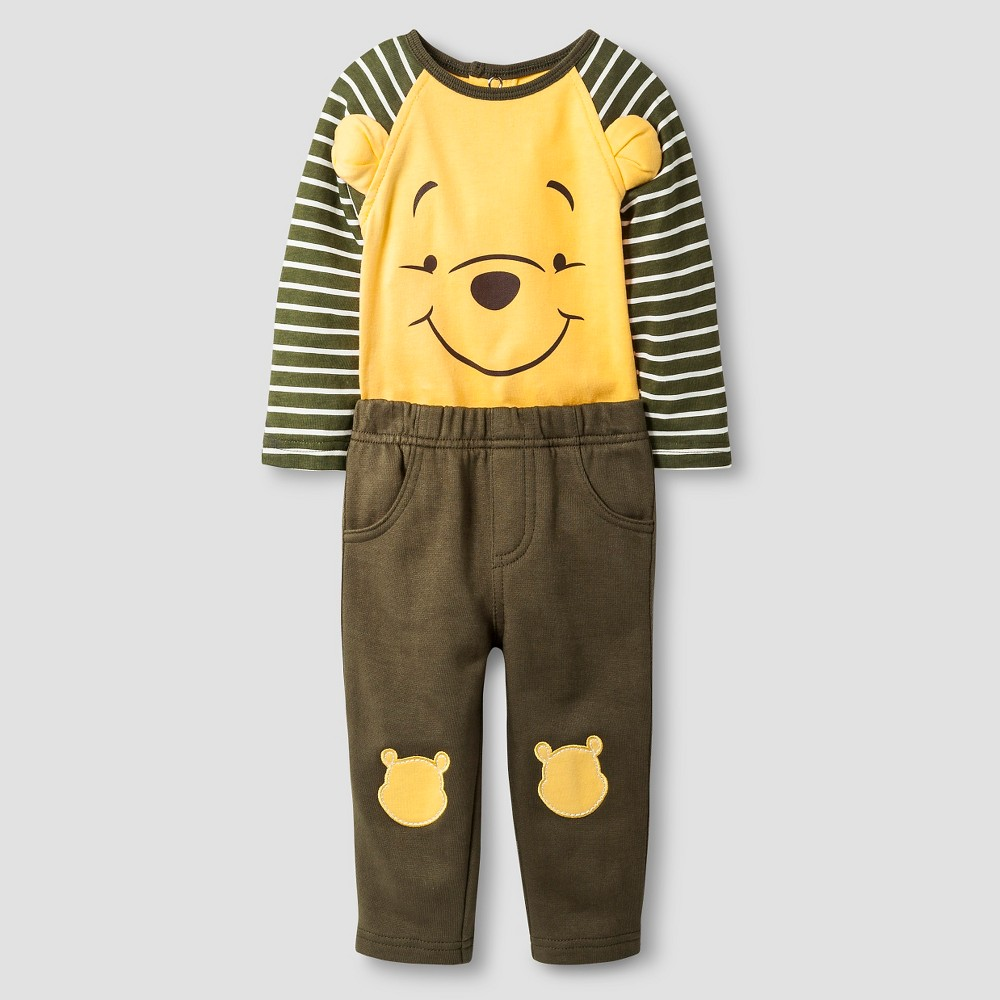 Disney Pooh Baby Top and Bottom Set - Yellow 0-3M, Infant Boys, Size: 0-3 M
