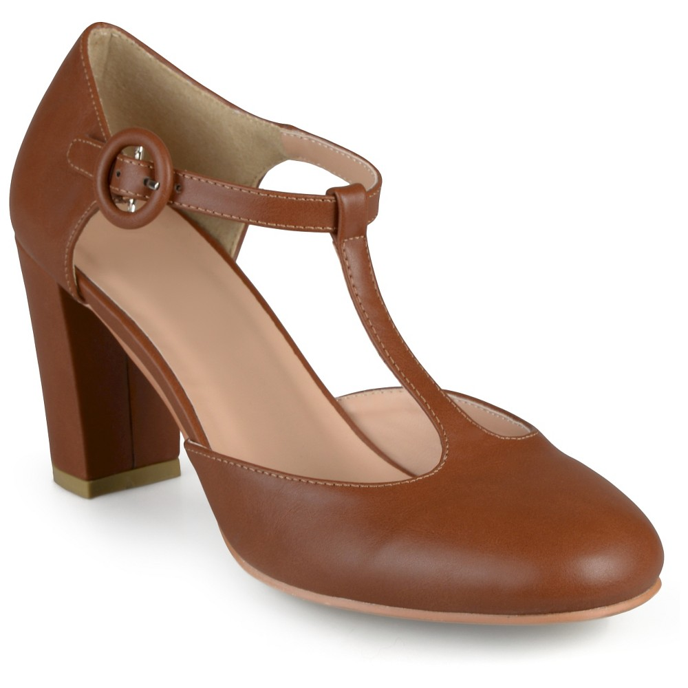 Womens Journee Collection Talie Round Toe T-Strap Pump - Camel 7.5