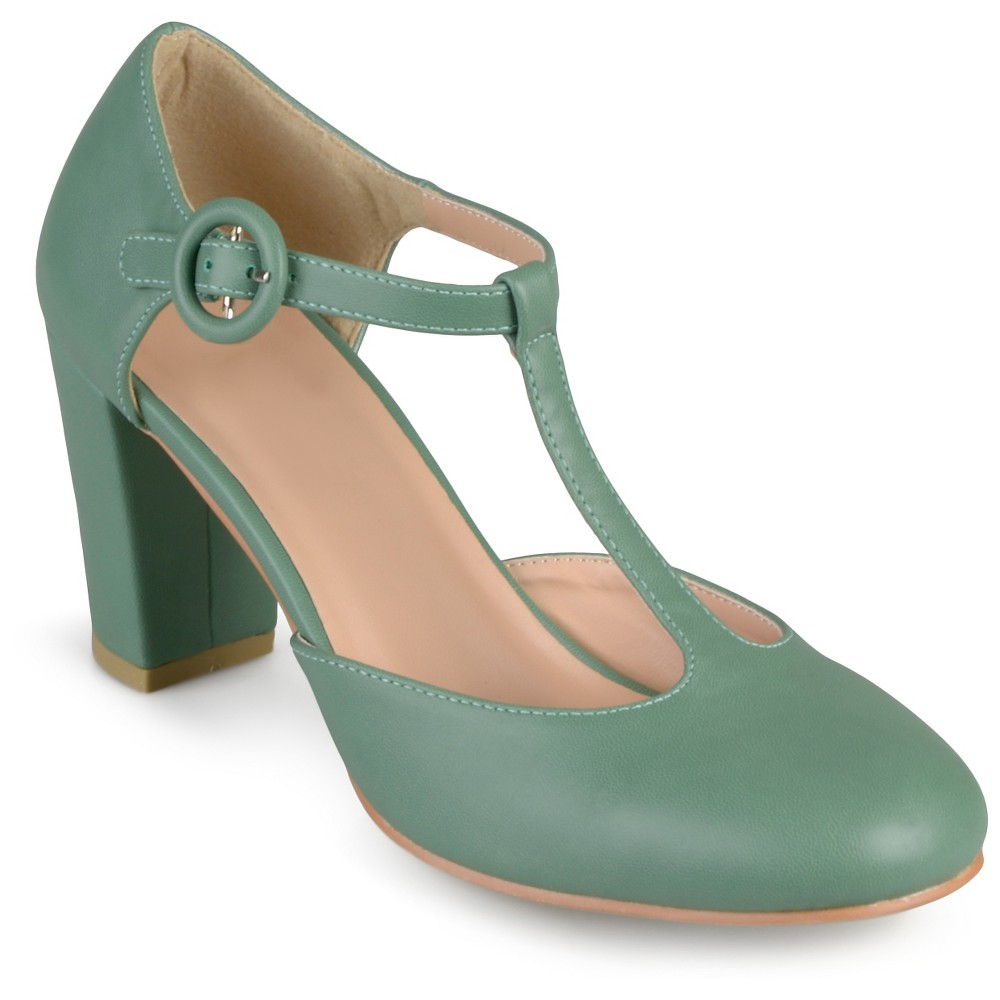 Womens Journee Collection Talie Round Toe T-Strap Pump - Green 8.5