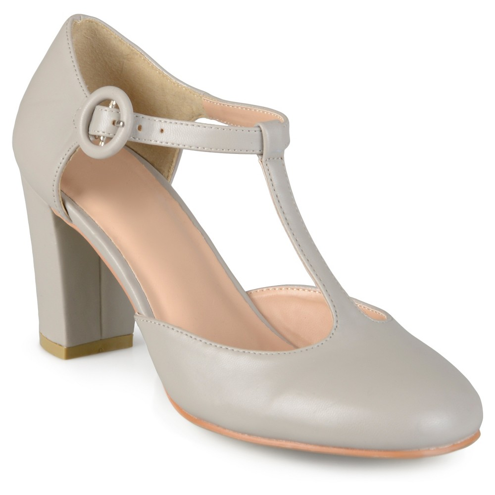 Womens Journee Collection Talie Round Toe T-Strap Pump - Light Gray 8.5