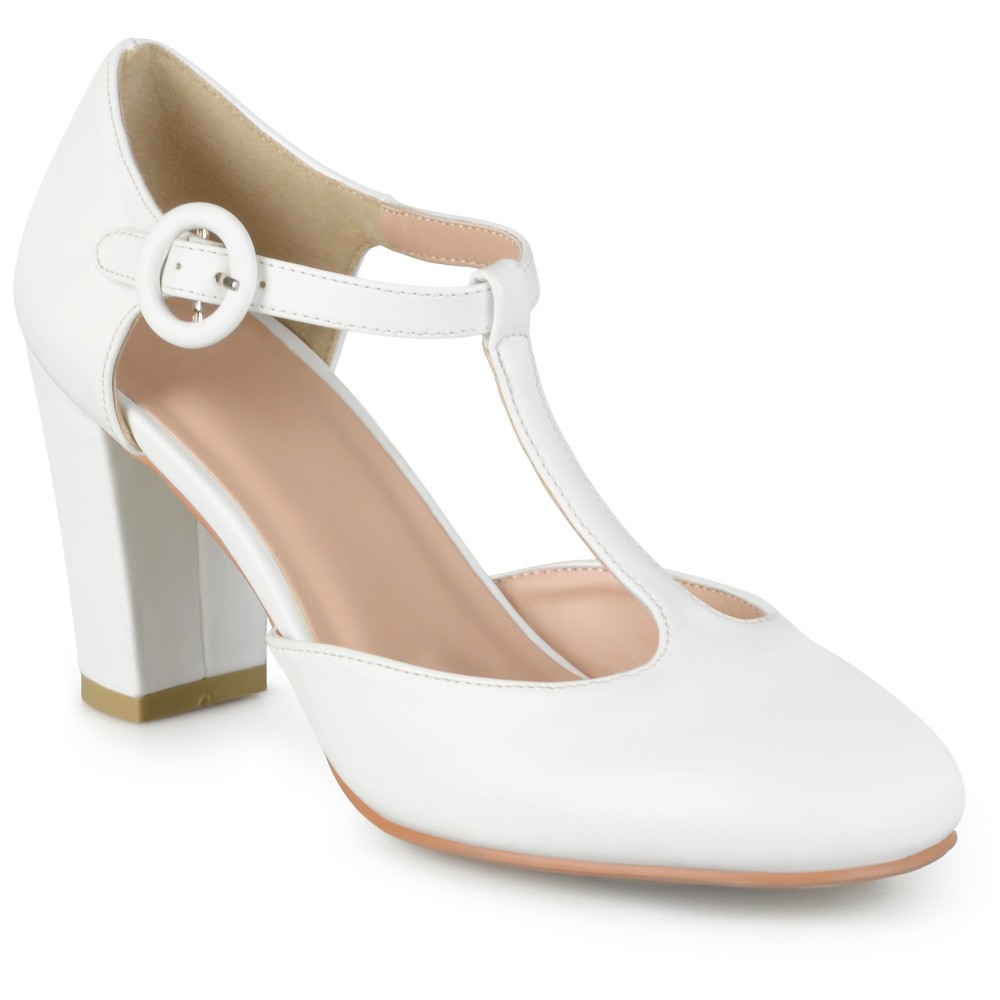 Womens Journee Collection Talie Round Toe T-Strap Pump - Off White 7.5