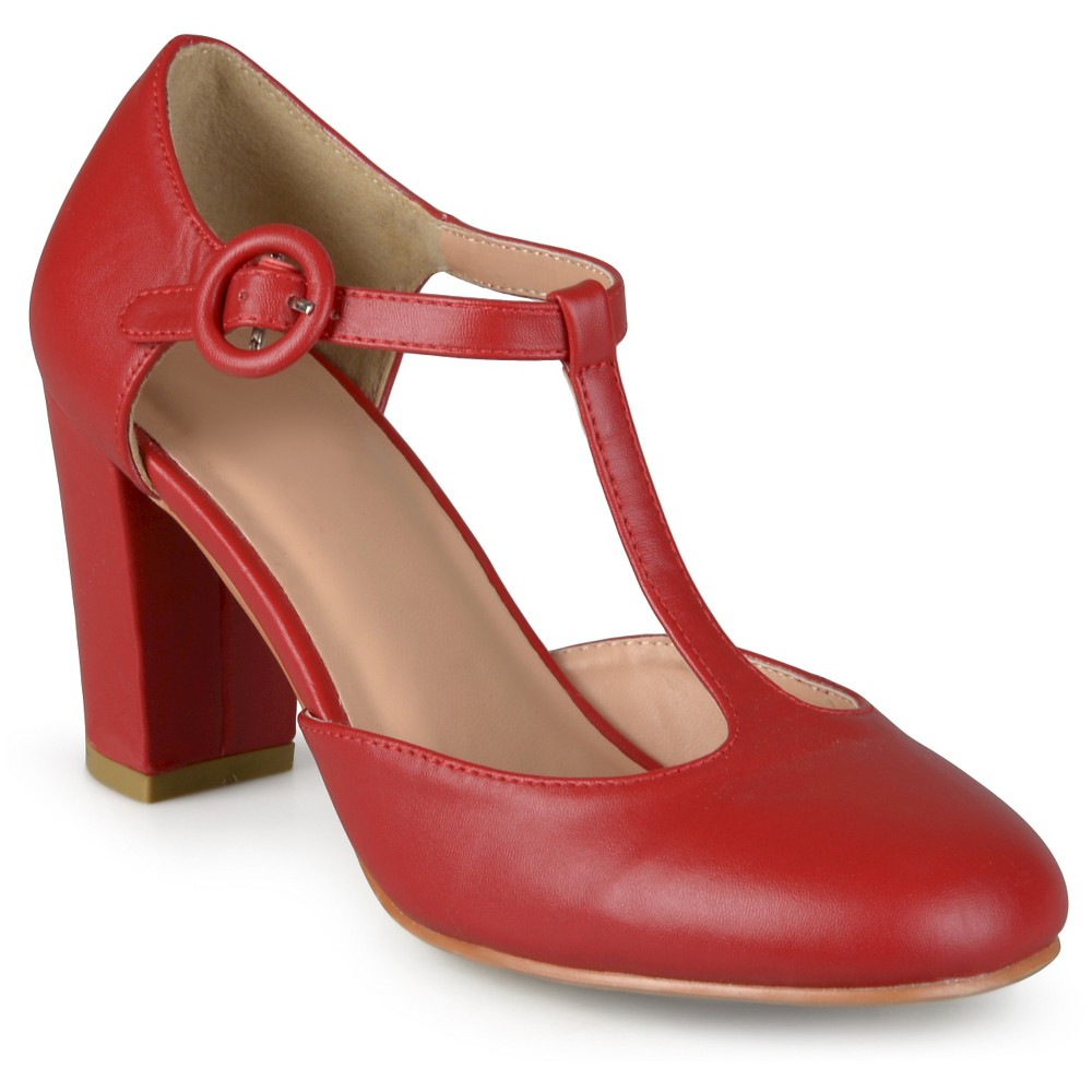 Womens Journee Collection Talie Round Toe T-Strap Pump - Red 9