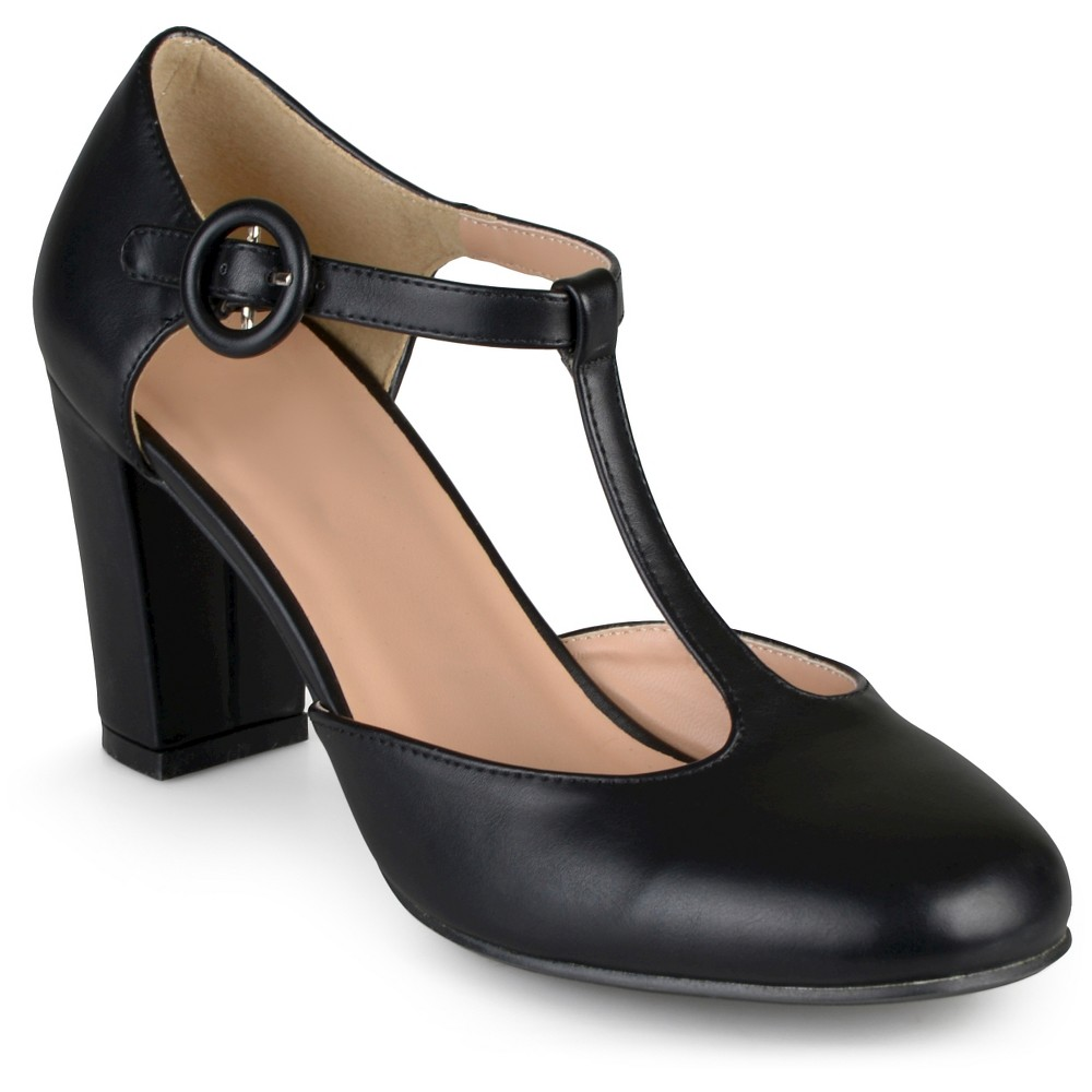 Womens Journee Collection Talie Round Toe T-Strap Pump - Black 6.5