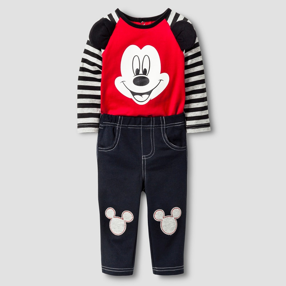 Disney Mickey Mouse Baby Boys Top and Bottom Set - Red 0-3M, Size: 0-3 M
