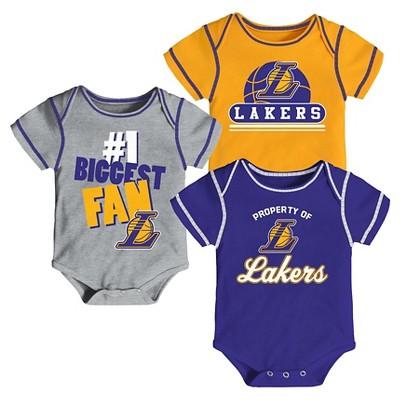 Los Angeles Lakers Baby Boys' 3pk Bodysuit Set 3-6 M