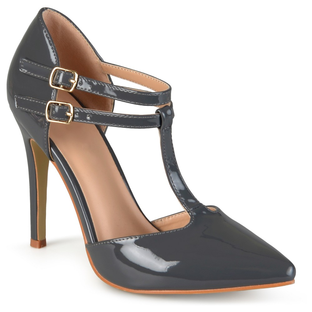Womens Journee Collection Tru Classic T-Strap Pumps - Gray 7.5