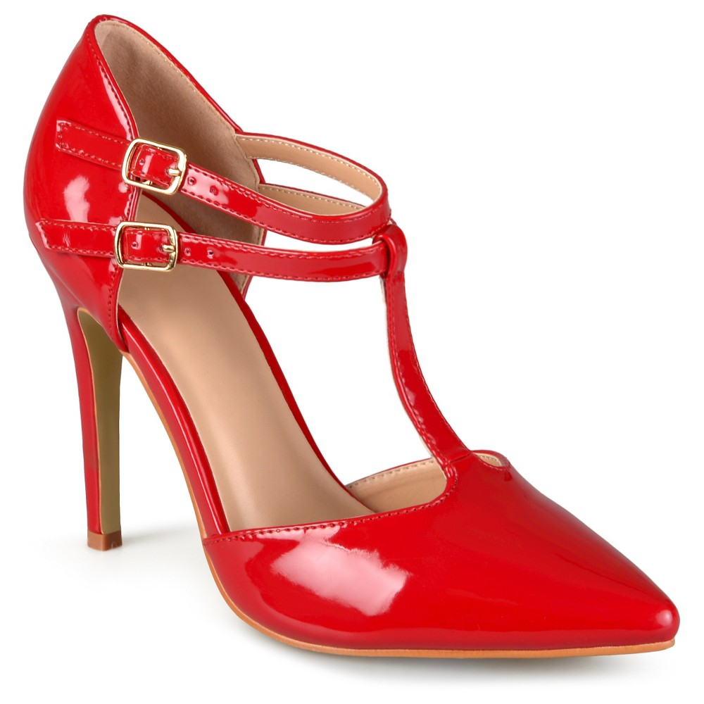 Womens Journee Collection Tru Classic T-Strap Pumps - Red 7