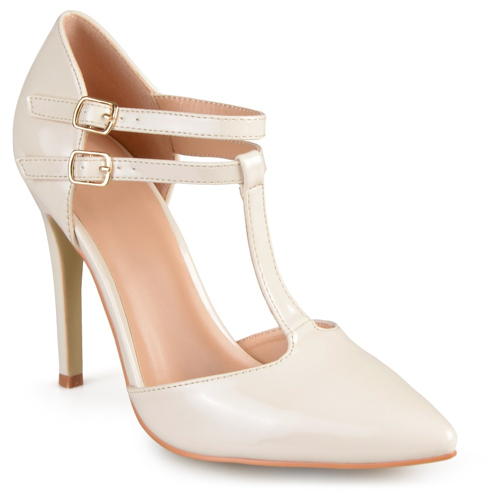 Womens Journee Collection Tru Classic T-Strap Pumps - Off White 7.5
