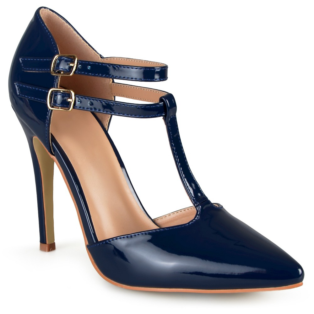 Womens Journee Collection Tru Classic T-Strap Pumps - Navy (Blue) 8.5
