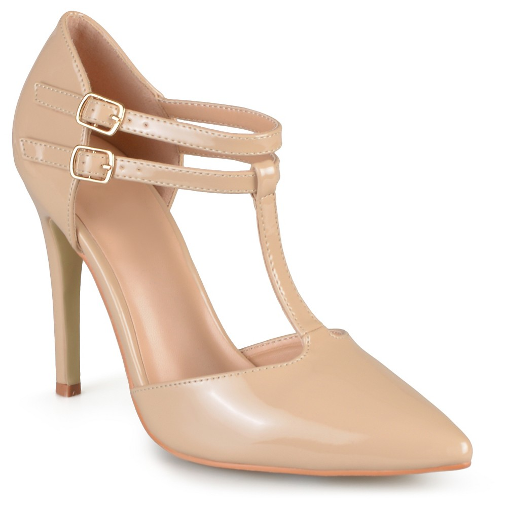 Womens Journee Collection Tru Classic T-Strap Pumps - Nude 9