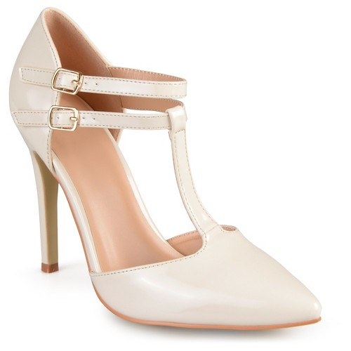Women's Journee Collection Tru Classic T-Strap Pumps - Off White 9