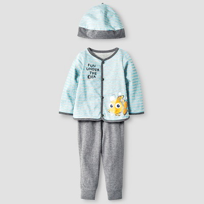 Disney® Nemo Baby Boys' 4 Piece Bodysuit, Bib, Hat & Pants Set - Blue