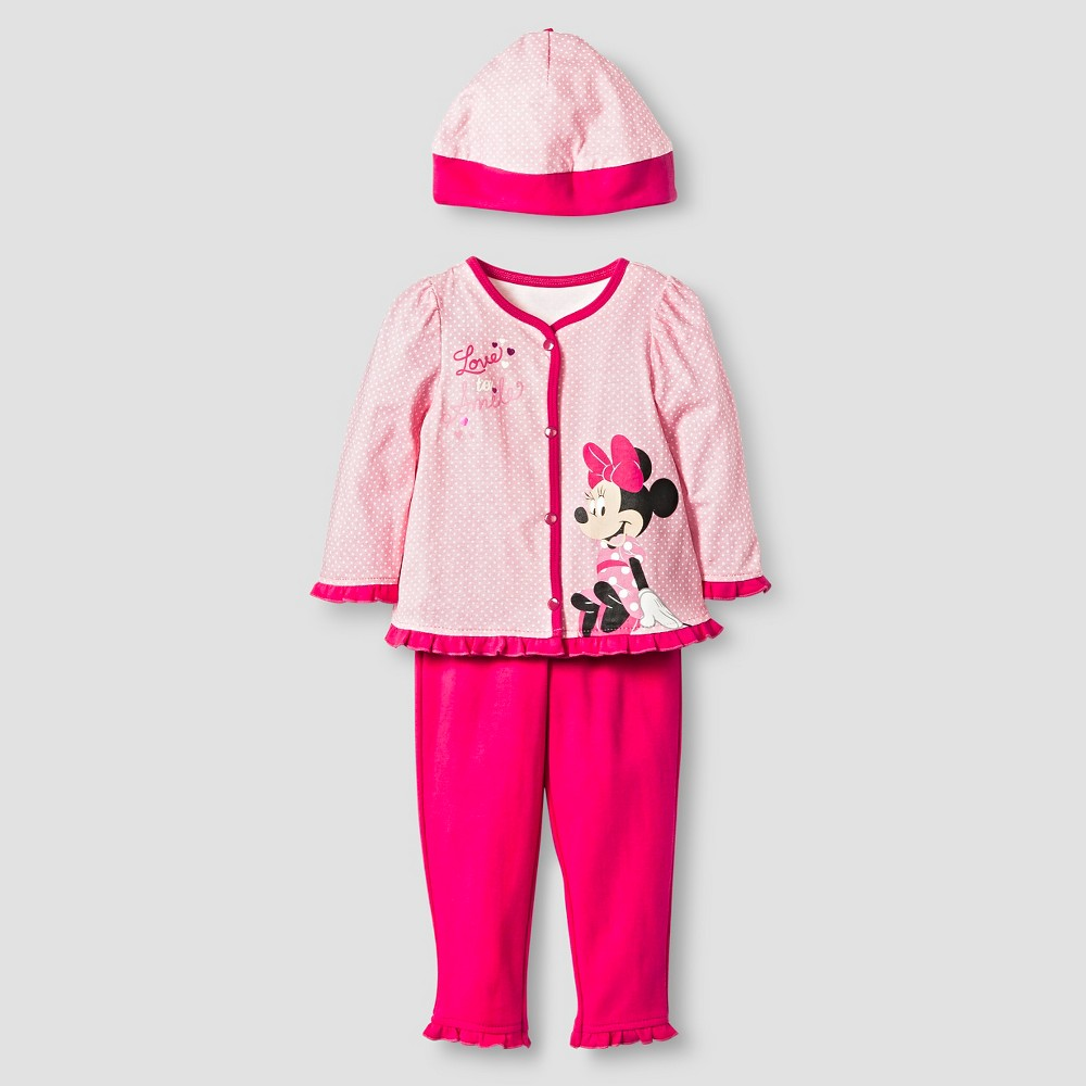Disney Minnie Mouse Baby Girls 4 Piece Bodysuit, Bib, Hat & Pants Set - Pink, Size: 3-6 M
