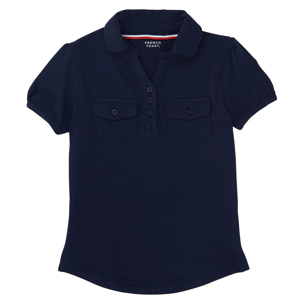 French Toast Girls Short Sleeve Knit Double Pocket Polo - Navy (Blue) XL