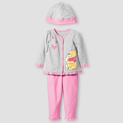Disney® Pooh Baby Girls' 4 Piece Bodysuit, Bib, Hat & Pants Set - Pink