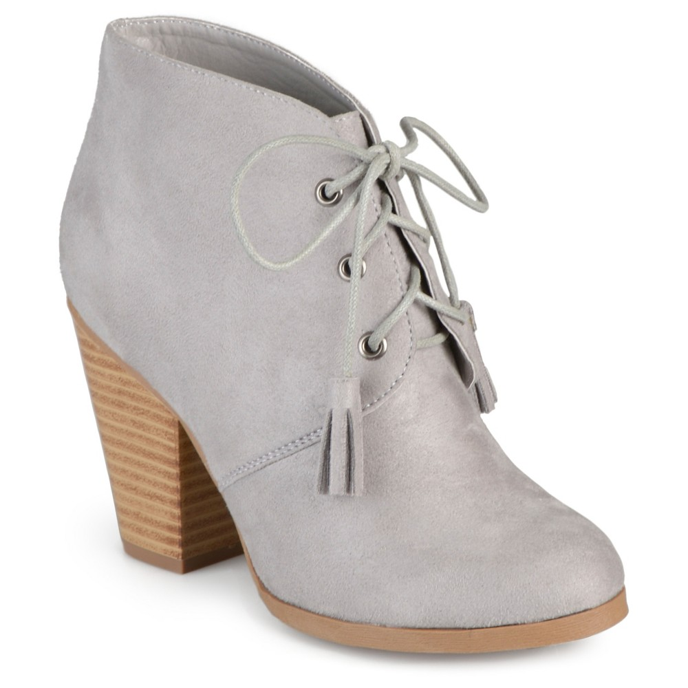 Womens Journee Collection Wen Faux Suede Lace Up Booties - Gray 7.5