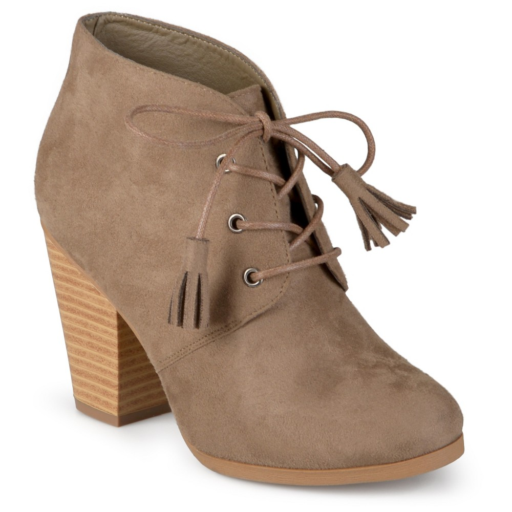 Womens Journee Collection Wen Faux Suede Lace Up Booties - Taupe Brown 8.5