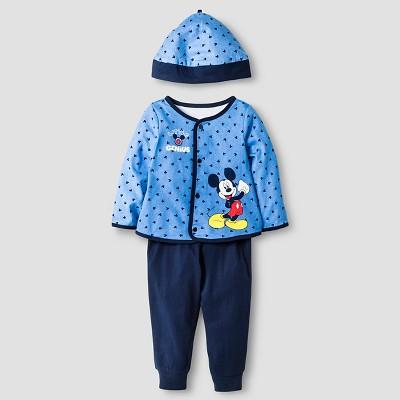 Disney® Mickey Mouse Baby Boys' 4 Piece Bodysuit, Bib, Hat & Pants Set - Blue