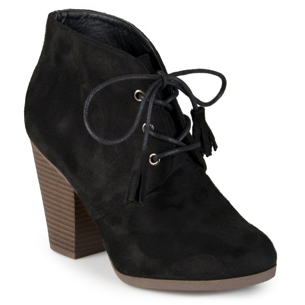 Womens Journee Collection Wen Faux Suede Lace Up Booties - Black 6.5