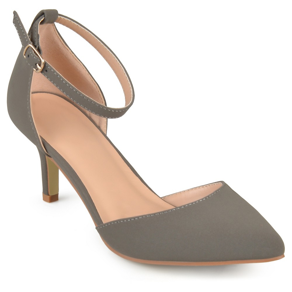 Womens Journee Collection Ike Faux Suede Ankle Strap Pumps - Gray 6