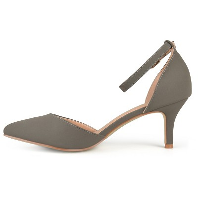 Women's Journee Collection Ike Faux Suede Ankle Strap Pumps - Grey 6