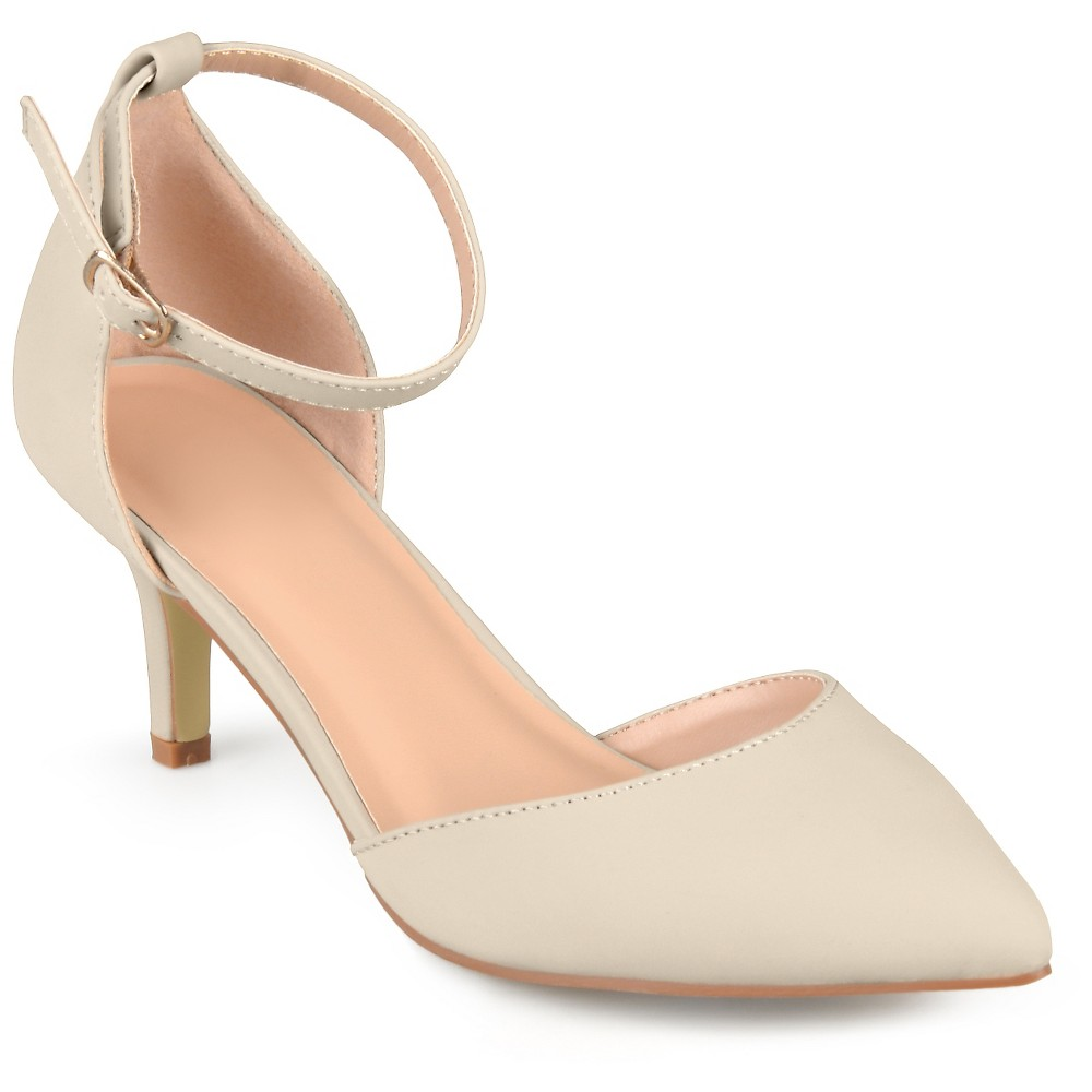 Womens Journee Collection Ike Faux Suede Ankle Strap Pumps - Ivory 6.5