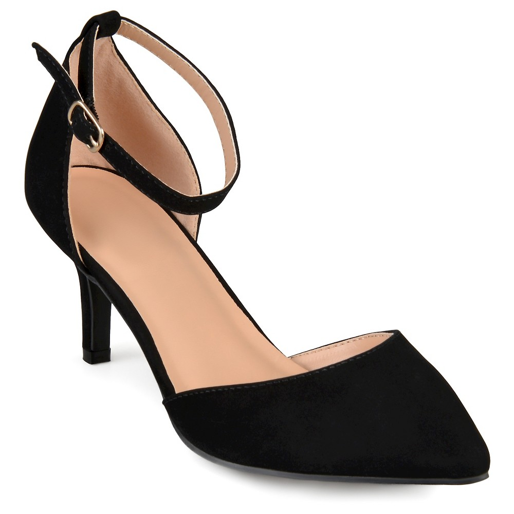 Womens Journee Collection Ike Faux Suede Ankle Strap Pumps - Black 6.5