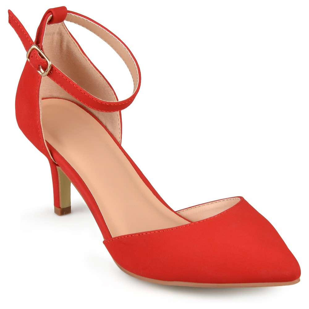 Womens Journee Collection Ike Faux Suede Ankle Strap Pumps - Red 7.5