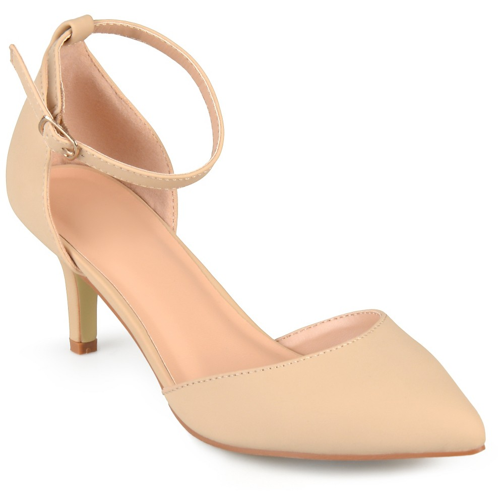 Womens Journee Collection Ike Faux Suede Ankle Strap Pumps - Nude 6.5