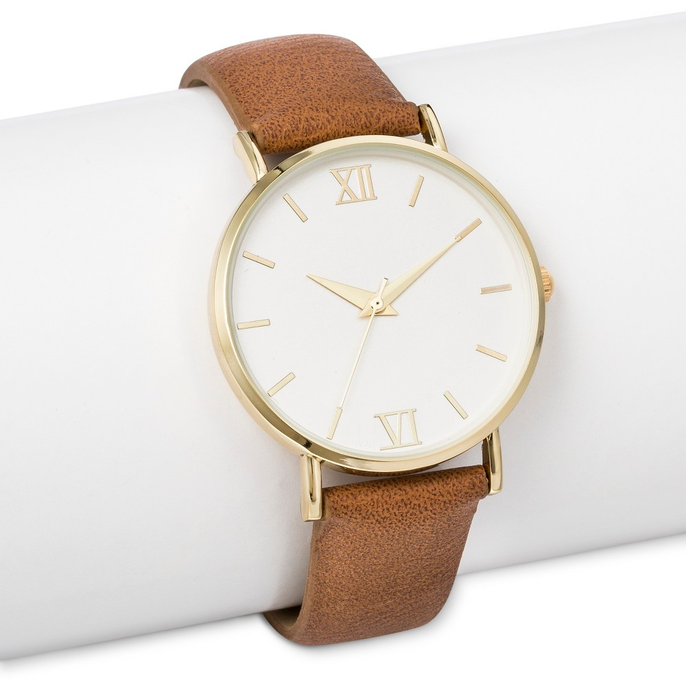 Womens Strap Watch with White Dial Brown - Merona, Bright Gold