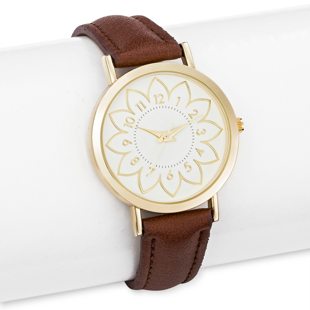 Womens Strap Watch with Floral Design Dial Cognac - Merona, Multi-Colored