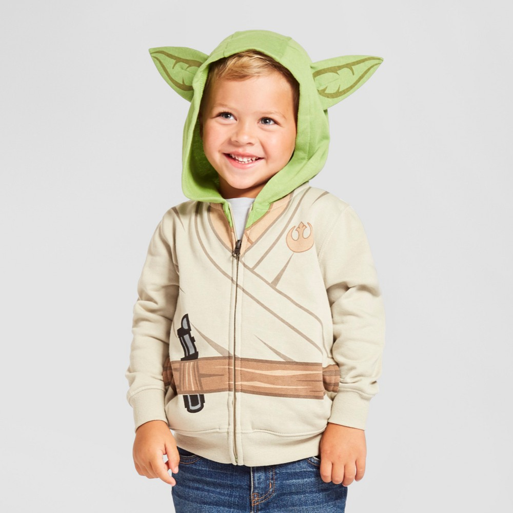 Star Wars Toddler Boys Yoad Costume Hoodie 2T - Brown Sand, White