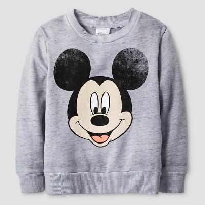 Mickey Mouse Toddler Boys' Burnout Crew Fleece 2T - Heather Gray