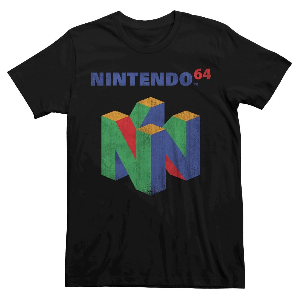 Nintendo Men's Big & Tall Nintendo 64 Logo T-Shirt Black Xxxl