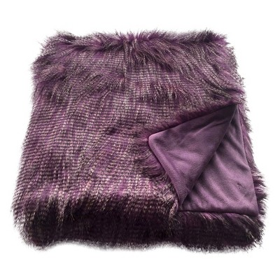 Faux Ostrich Fur Throw Blanket Purple - Threshold™