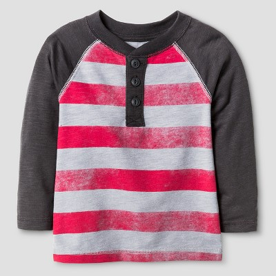 Baby Boys' Stripe Henley T-Shirt Baby - Cat & Jack™ - Red & Grey 12M