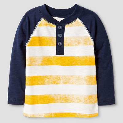 Baby Boys' Stripe Henley T-Shirt Baby - Cat & Jack™ - Pharaoh Gold 12M