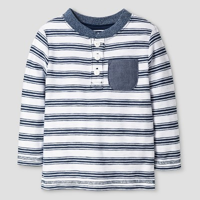 Baby Boys' Henley T-Shirt Baby - Cat & Jack™ - Blue & White 12M