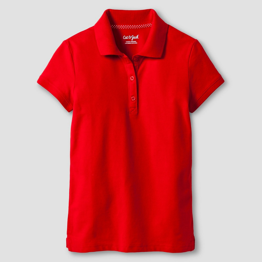 Girls Pique Stain Resist Polo Shirt - Cat & Jack Red S