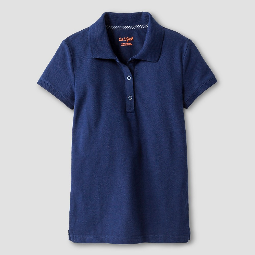 Girls Pique Stain Resist Polo Shirt - Cat & Jack Navy XS, Nightfall Blue