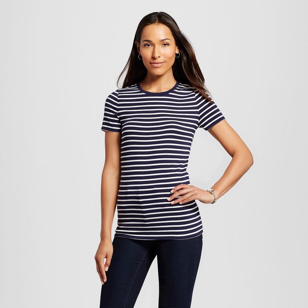 Womens Striped Ultimate Crew T-Shirt Cream/Navy Stripe Xxl - Merona, White