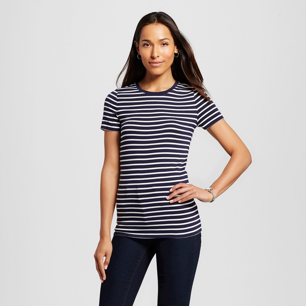 Womens Striped Ultimate Crew T-Shirt Cream/Navy Stripe XL - Merona, White