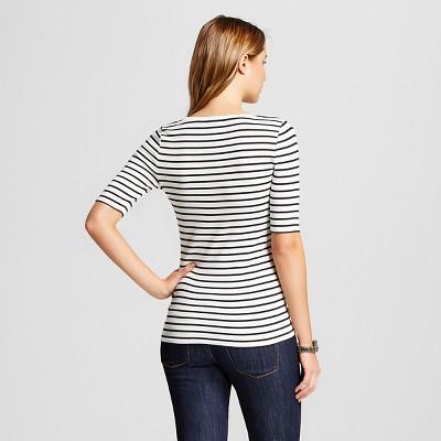 Women's Striped Ultimate Elbow Scoop Tee Cream/Black Stripe XS - Merona, White