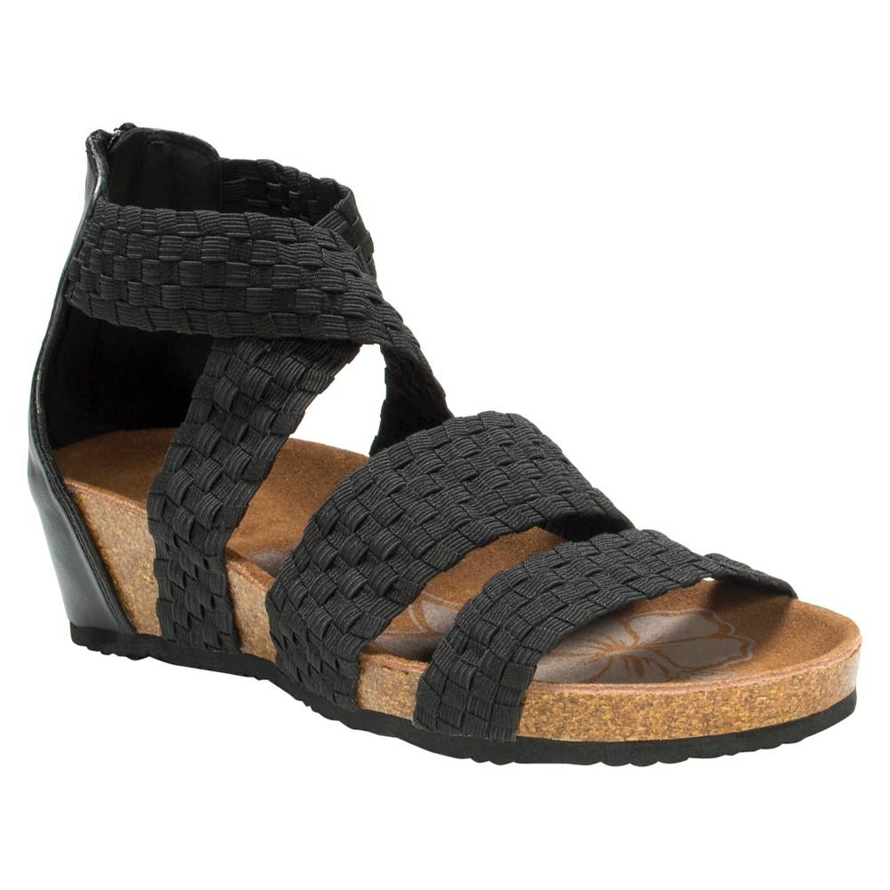 Womens Muk Luks Elle Wedge Sandals - Black 8