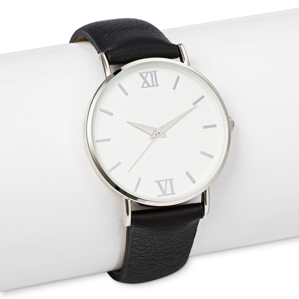 Womens Strap Watch with White Dial Black - Merona