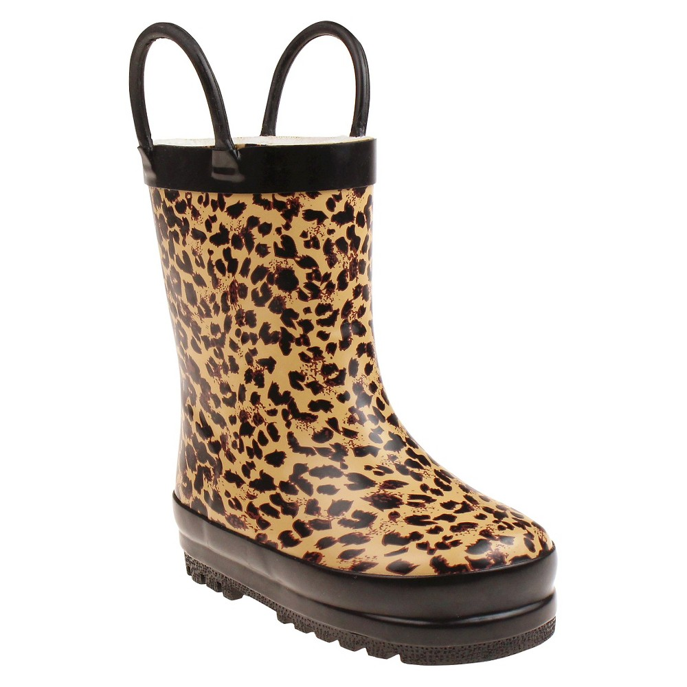 Toddler Girls Capelli Kids Fully Fur Lined Floral Rain Boots - Tan 4 - 5, Size: 4-5, Beige