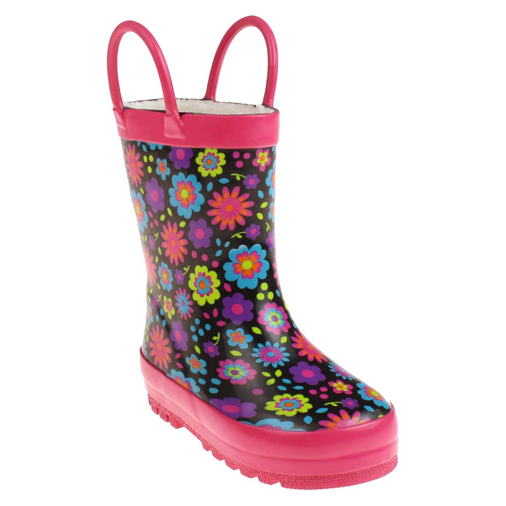 Toddler Girls Capelli Kids Fully Fur Lined Leopard Rain Boots - Pink 4 - 5, Size: 4-5