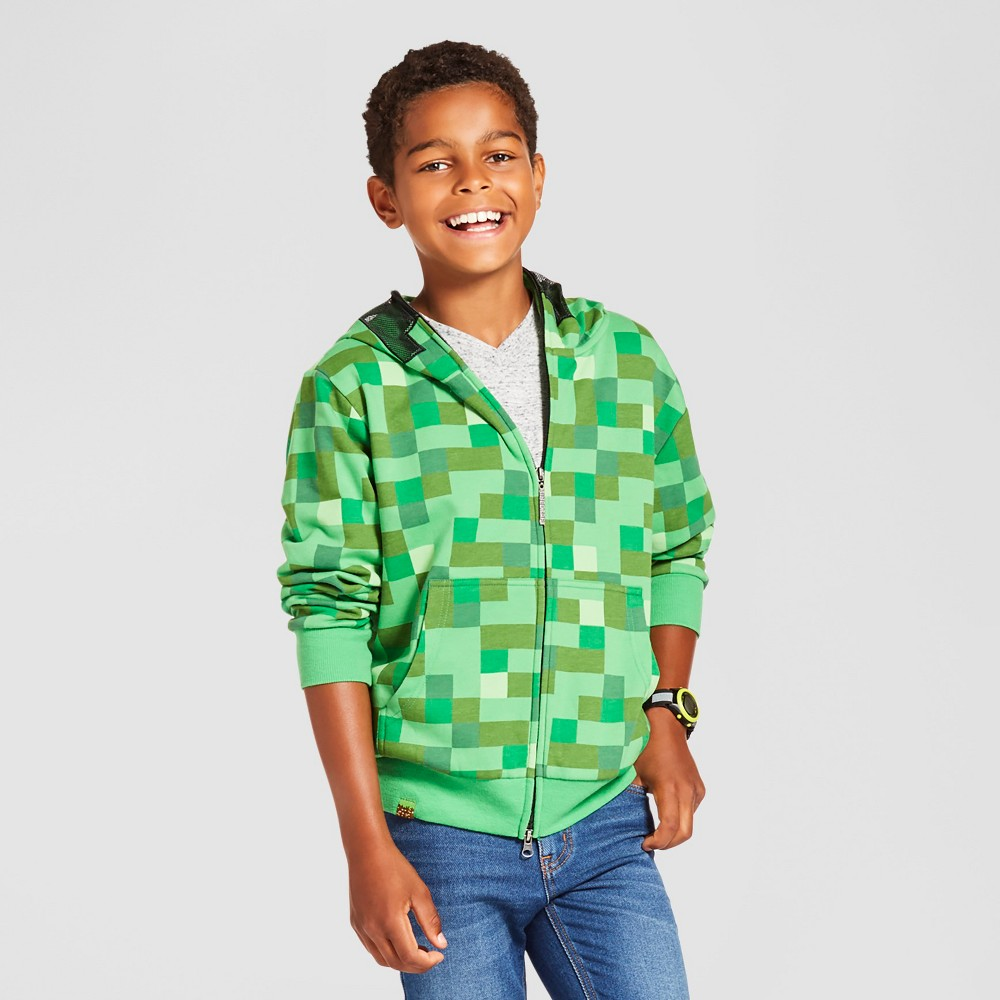 Minecraft Boys Creeper Hooded Sweatshirt Green - L