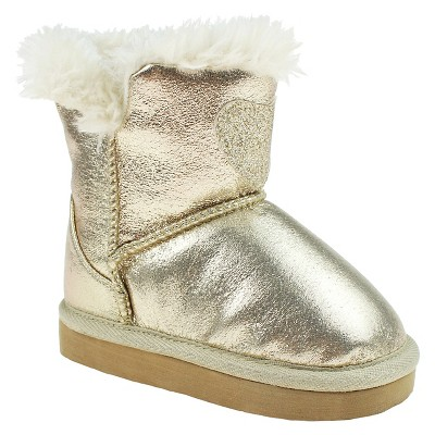 Toddler Girls' Capelli Joyce Fur Lined Heart Booties - Gold 4-5