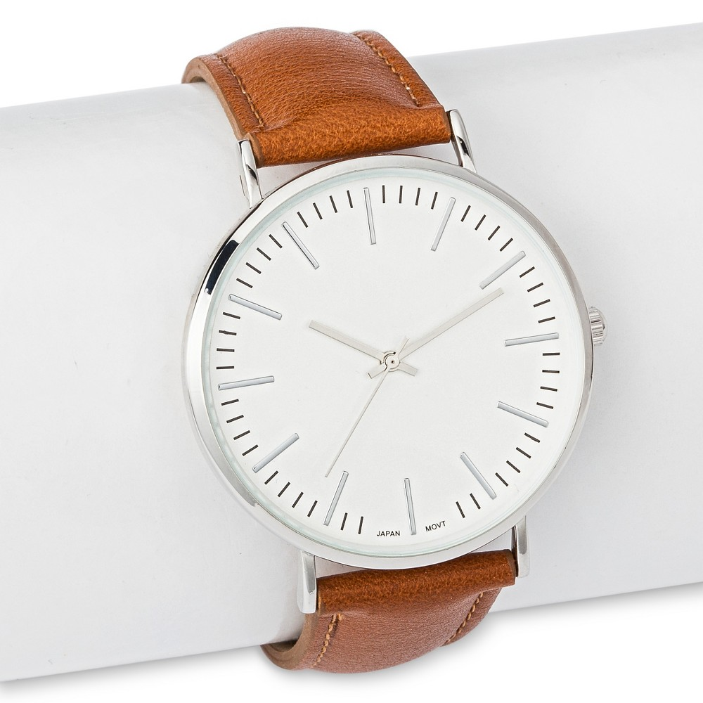 Mens Strap Watch with White Dial Brown - Merona, Silver